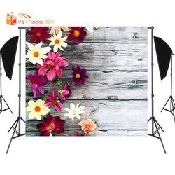 Floral Wood Backgrounds for Photography Photophone for Food Photo Birthday Product Vinyl Photobooth for Manicure Flower Backdrop