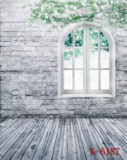 Grey Brick Wall Photography Backdrops Flowers Window Wood Floor Photo Studio Backgrounds