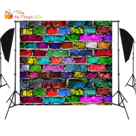 Colorful Brick Wall Backdrops Wedding Background Birthday Party Photo Newborn Children Vinyl Photophone for Object Photography