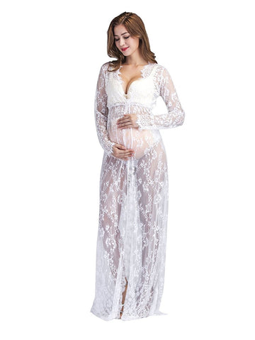 Shooting Photo Lace Dress Photography mopping Dresses For Pregnant Woman Thin section V-neck long sleeve