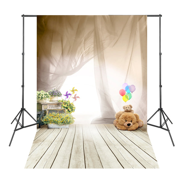Gauze Bears Flowers White Floor Wood Board Photography Background Photo Backdrops Profissional
