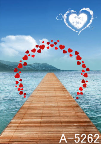 Photography Backdrops Wood Sea Channel, Circle Of Hearts Background Fz1 Photo Studio Mh-5262