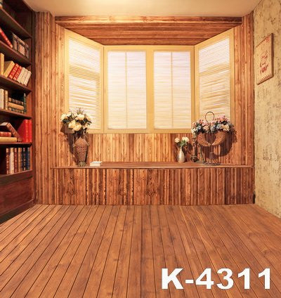 Stone Wall Backdropbackgrounds For Photo Studiofabricbackdrops Wooden Floor Wood Windows Bookcase