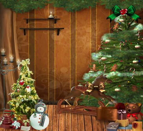 Photography Background Red Wedding Small Christmas Tree On Christmas Gifts Wood Floor Background Cm-6366