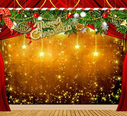 Vinyl Backdrop Wood Floor Stage Curtain Wall Gold Stars Background Cm-6389