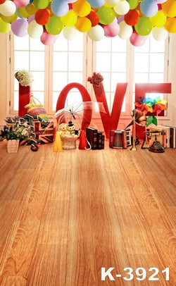 Vinyl Backdrop Photography backdrops Photography fabric backdrops 220Cm * 150Cm wooden Floors Windows Balloon