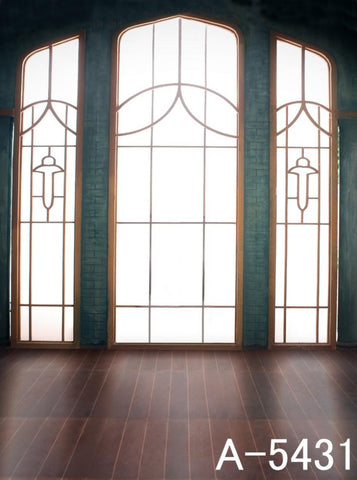 Photography Backdrops Strip Wood Flooring, Three Windows Iron Background Mh-Dt-A-5431