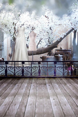 Fotografia Background Photo Fabric Backdrops 220Cm * 150Cm Vertical Wood Floors Outside Fence Wedding