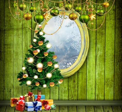 Photography Backdrops Green Wood Wall Frame Christmas Gift Background Cm-6435