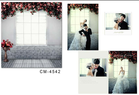 Backdrops With Floor Wood Floors  White Brick Walls Under The Window And Window Flower Vine Cm-4542