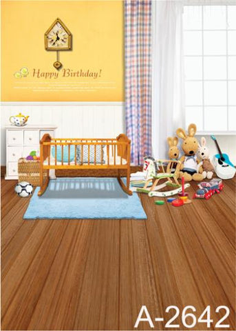 Wood Floor Has A Puppet And A Small Bed Cloth Photography Background
