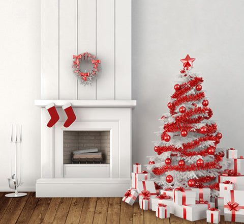 Photography Backdrops Saffron White Wood Fireplace Christmas Background Cm-6376