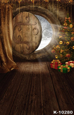 Christmas Wall Clock With Wooden Door Photography Backdrops Photo Background For Photo Studio Vinilos K-10280