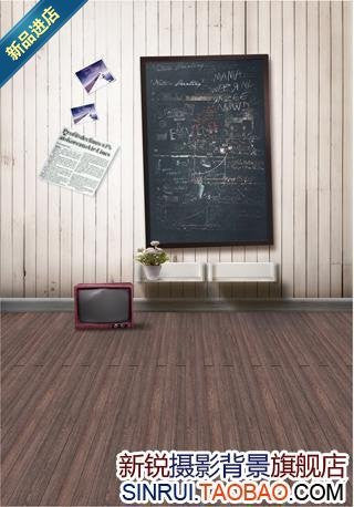 Cloth Background Photography With Hangs On The Wall The Blackboard Wood Floor On The Television