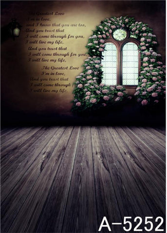 Photography Backdrops Wood Floors, Windows With Flowers And Surrounded By A Wall Background Mh-5252