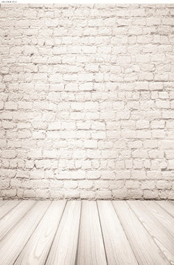 Vinyl Brick Wall Backdrops Backgrounds Wood Flooring, Square Windows, Chandeliers