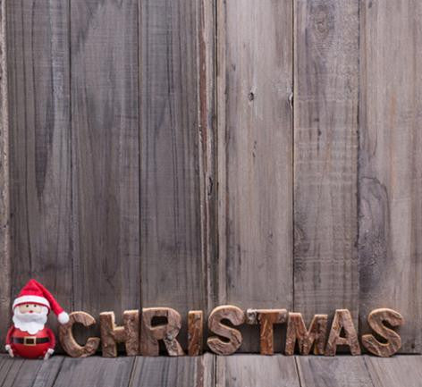 Photography Backdrops Christmas Doll Wooden Walls Background Cm-6539