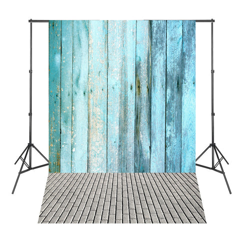 Blue Wood Board Brick Floor Photographic-background for Photo Shoots Vinyl Backdrops for Photography
