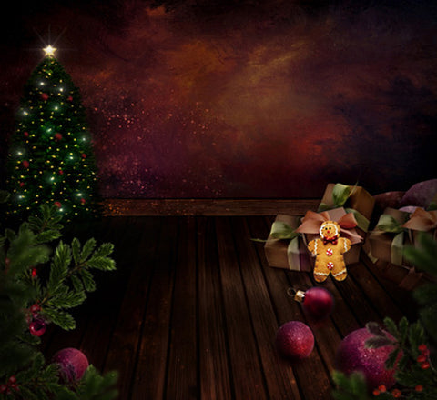 Photography Backdrops Christmas Gift Boxes On Wooden Floor Cartoon Toys Background Cm-6520
