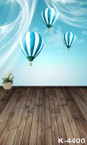 Backdrops Photography Fundos Photography Cloth Photo Background 220Cm * 150Cm Wood Floors Blue Hot-Air Balloon