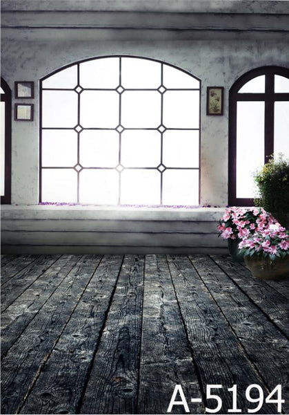 Background Background Fotografia Wood Flooring, Flowers; Lattice Windows  Mh15-194