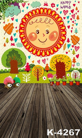 Spring Backdrops Photographyfond Studiofabricbackdrops Wood Flooring Wall Cartoon Tree And The Sun