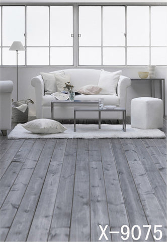 Warm Wood Floor Room Has A White Sofa Cloth Photography Background