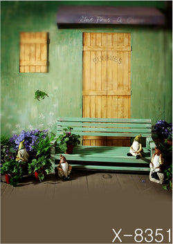 Yellow Wood Door Green Seating Cloth Photography Background