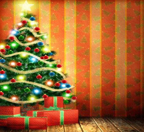 Photography Backdrops Christmas Tree Wall Fundo Wood Floor Background Cm-6546