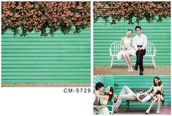 Background Photography 300Cm * 200Cm Green Wood Pink Flowers Backdrops For Studio Cm-5729