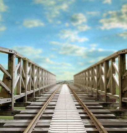 Photography Backdrops White With Floor A Wooden Viaduct On The Railway Cm-4305