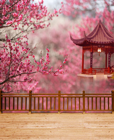 Photography Backdrops 300Cm*200Cm Wood Fence Outside The Pavilion Plum Trees Cm-5304
