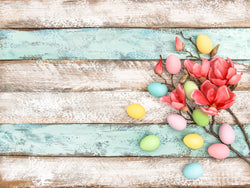 LIFE MAGIC BOX Backdrops Backgrounds Colorful Wood Plank Flowers Egg Easter Photo Zone 1 Year