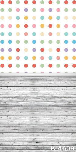 Backdrop Photography Background Vinyl Studio Photocall Birthday White And Colorful Dots Of Wood K-4609