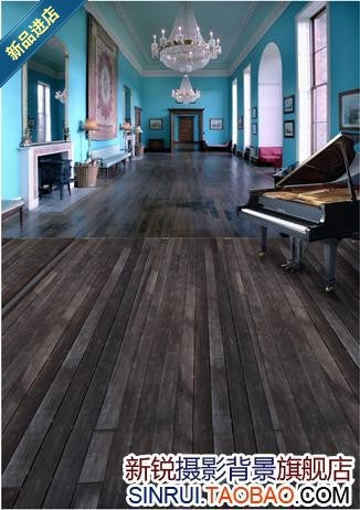 Blue Walls Of The House The Piano On The Wooden Floor Cloth Background Photography