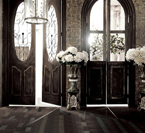 Photography Backdrops Wood Windows And Doors Bouquet Background Cm-6247
