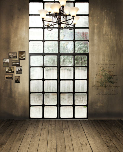 300Cm*200Cm About 10Ft*6.5Ft Backgrounds Wood Flooring, Square Windows, Chandeliers Cm-5264