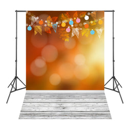 Leaves Orange White Wood Board Baby Shower Backdrop Background Fond Studio Photo Vinyl