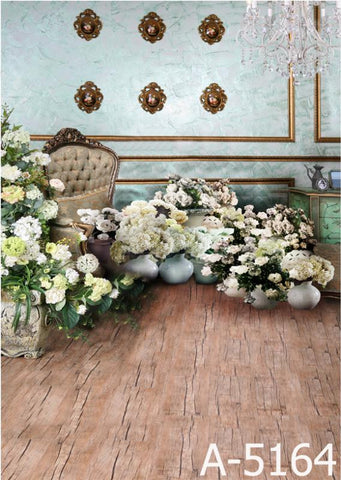 Background Fundo Fotografico Many Flower On The Wooden Floor, There Is A Chandelier  Mh15-164