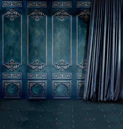 Wood Floor Backdrop 10 Ft -7 -Ft Background Blue House  Blue Curtains Cm-4174