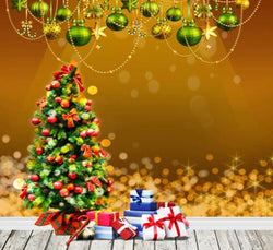 Photography Backdrops Christmas Gift Box Wooden Floor Green Balls Hanging On The W Background Cm-6336