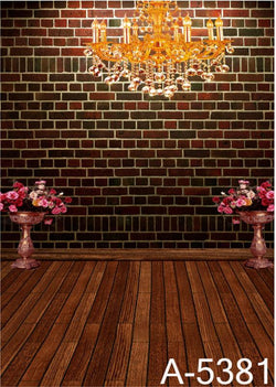 Background Fundos Photography  Wood Floor Two Large High Flower, Dark Red Brick Walls, Chandeliers  Mh15-381
