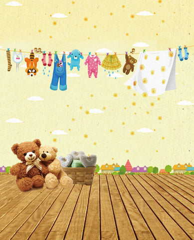 Photography Backdrops 300Cm*200Cm Wooden Distant Hamlet, Hanging Clothes On The Line Cm-5301