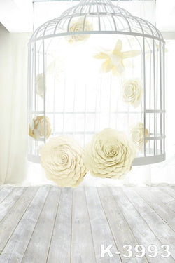 Backdropsphoto Backdropsclothphoto Background 220Cm * 150Cmwood Floors, Birdcage Flowers