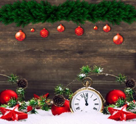 Photography Backdrops Green Pine Wood Walls Hang Below The Red Ball Pocket Watch Background Cm-6446