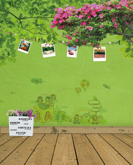 300Cm*200Cm About 10Ft*6.5Ft Backgrounds Wood Floors, Walls Painted Green, Tree Rope Hanging Paper Cm-5271