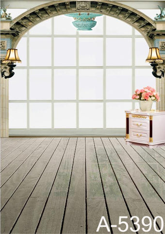 Photography Backdrops There Are Pots Of Pink Flowers On The Vertical Bar Wooden Floors Mh-5390