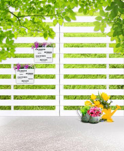 LIFE MAGIC BOX 150X200Cm Vinyl Backdrops For Photography  White Wooden Fence Green Leaves Photo Background Cm-5555
