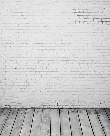 5X7Ft Photography Backdrops Background White Wood Floors, White Brick Wall Cm-5336