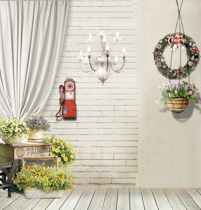 Photo Booth Background Wood Floor Boxes Above Flowers  Chandelier White Brick Phone  Hanging Flower Pots Cm-4041